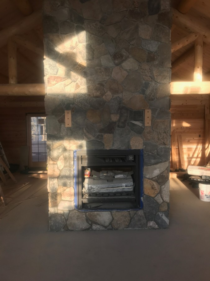 New Stone Chimney & Gas Fireplace Installed by RD Masonry & Landscape